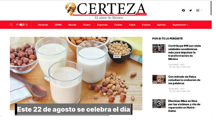 Entrevista HSI en Certeza Diario sobre el Día Mundial de la Leche Vegetal